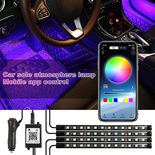 Wilktop Tira de luces LED para interior del coche, 4 unidades, 48 ledes, RGB, con aplicación