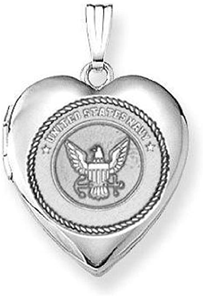 PicturesOnGold.com Sterling Silver Navy Heart Inch San Jose Mall X 4 3 Max 70% OFF Locket