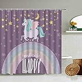 XCBN Cortina de Ducha de Unicornio Divertido de Dibujos Animados Dream Rainbow Pink Boy Girl Baño Co...