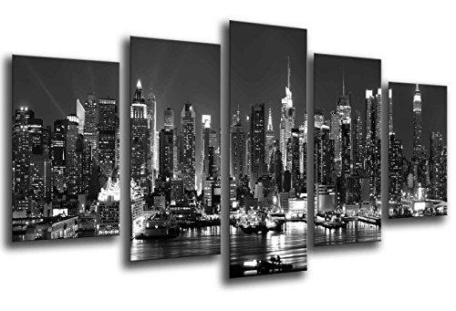 Cuadro Fotográfico Paisaje Ciudad Noche, Blanco y Negro Tamaño total: 165 x 62 cm XXL