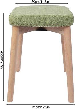 Auliuakz Removable and Washable Fabrics- Wood Cotton Linen Stool Soft Fabrics Chair Footstool Home Use
