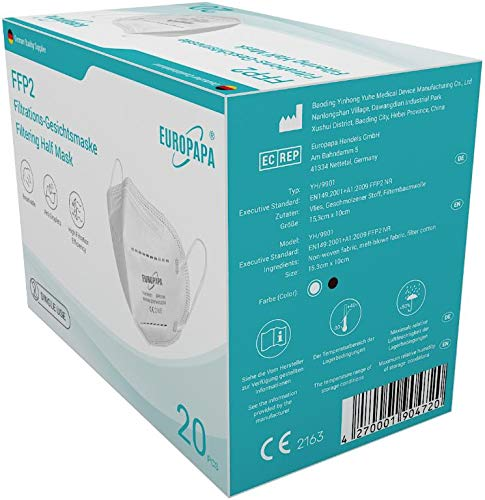 20er-Pack FFP2 Einweg Atemschutzmaske CE zertifizierte und DEKRA geprüfte 5-Lagen-Mundschutzmaske von EUROPAPA - 3