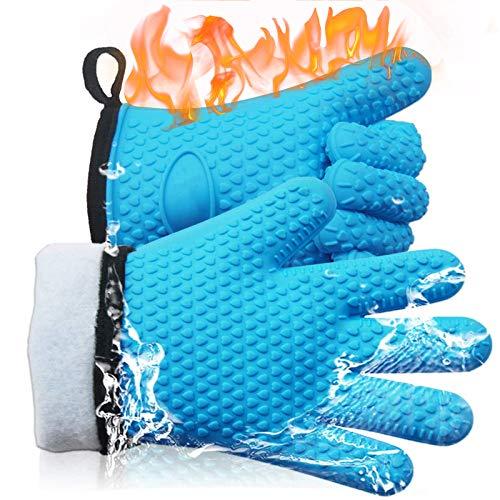 ELCM Guanti da Barbecue,Resistenti Calore Guanti da Cucina Forno in Silicone,Impermeabile e Antiscivolo Guanti da Doppio,per Cucina, Barbecue, Caminetto e Carbone
