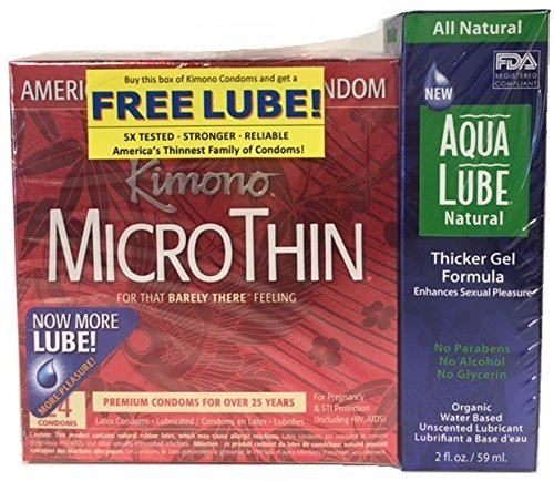 Kimono Microthin & Free Aqua Lube Natural Thicker Gel, 24 Count