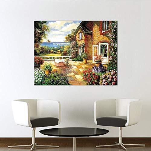 mytxfh Wandkunst Bild Leinwanddruck Ölgemälde Landschaft des Hinterhofs Bild für Schlafzimmer Wohnzimmer Home Decor-50cmx80cm,Without Frame