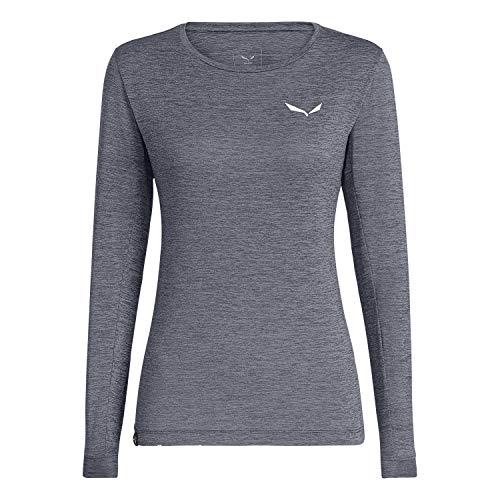Salewa Damen PUEZ Dry W L/S Tee Blusen & T-Shirts, Navy Blazer Melange, 44/38
