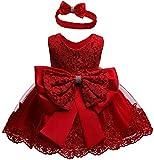 Bebé Niña Vestido de Encaje sin Manga Vestido Formal de Novia de Boda Traje de Vestido de Tutú de Color Sólido con Diadema para Recién Nacido de Bautizo Ceremonia (Rojo, 3-6 Meses)