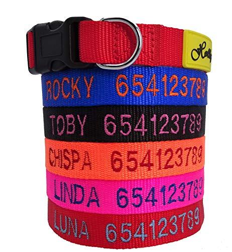 Holly Mascotas Collar de Perro Personalizado, de 24 a 72h lo tendrás en casa, Bordados Nombre y Número De Teléfono.