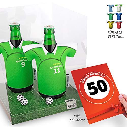 50. Geburtstag | Der Trikotkühler | Das Männergeschenk für Gladbach-Fans | Langlebige Geschenkidee Ehe-Mann Freund Vater Geburtstag | Bier-Flaschenkühler by Ligakakao
