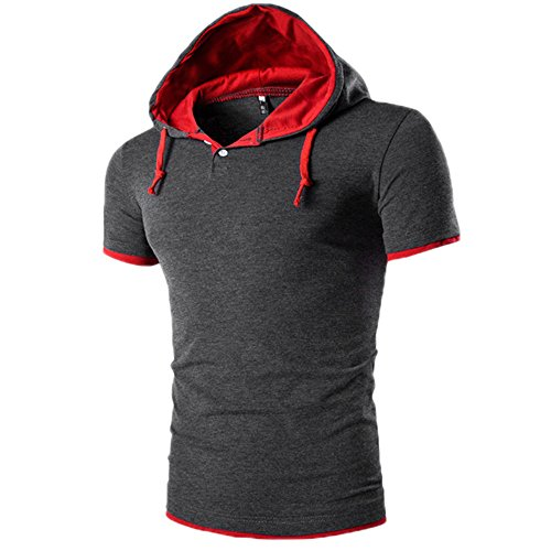 TWIFER Sommer T-Shirt Herren Kurze Ärmel Kapuzenpullover Kurzarm T-Shirt Für Männer