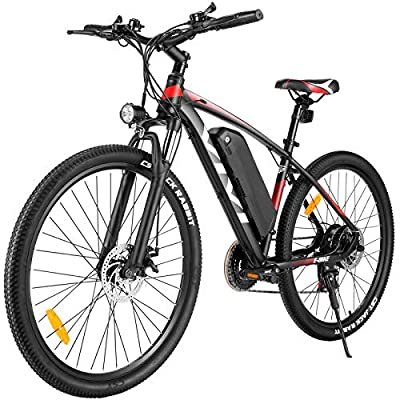 "Vivi Electric Bike 27.5"" Electric Mountain Bike 350W Adults Ebike Electric Commuter Bike, Electric Bicycle with Removable 10.4Ah Battery, Professional Shimano 21 Speed (27.5' Red)"