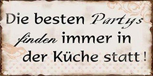 1art1 Spaß - Die Besten Partys Finden Immer In Der Küche Statt, Retro Style Magnetisches Blechschild, Magnet 10 x 5 cm