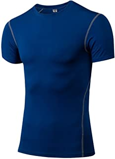 Men's Dry Fit Short Sleeve Shirts Base Layer Crewneck T-Shirt for Fitness Running Sports