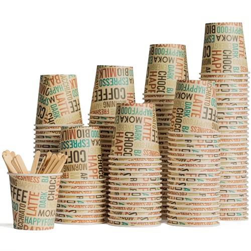 HAPPYFOOD 100 Bicchierini Carta Caffe + 100 Palette legno imbustate singolarmente - 110 ml 4 oz Biodegradabili bastoncini bicchieri tazzine monouso usa e getta bio per Caffè espresso Ginseng
