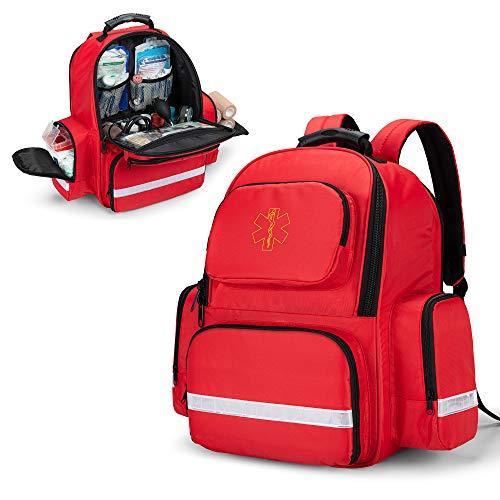 Trunab Bolsa de Primeros Auxilios Mochila de Trauma Vacía, Kits de Emergencia Médica Paquete de Bolsa de Salto para EMT, EMS, Policía, Bomberos, Oficiales de Seguridad, Rojo