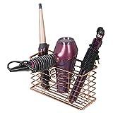 mDesign Soporte para secador de pelo – Organizador de baño de pared con 3...