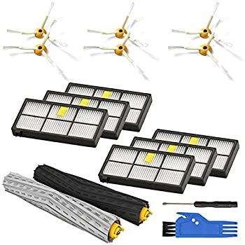 Replenishement Kit for iRobot Roomba 800 900 Series 850 860 861 866 870 880 890 960 980 Vacuum Accessories Replacement Parts with 1 Set of Multi-Surface Rubber Brushes 6 Filters 6 Side Brushes