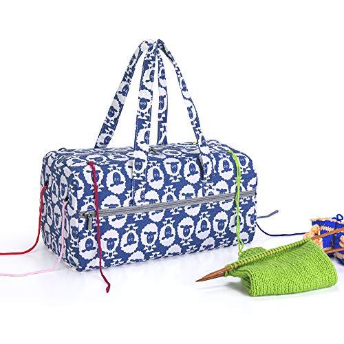 Luxja Aufbewahrungstasche für Wolle, Stricken Tasche für Garn Stränge, Häkelnadeln, Stricknadeln (bis 14 Zoll) und Andere Zubehör, Schaf