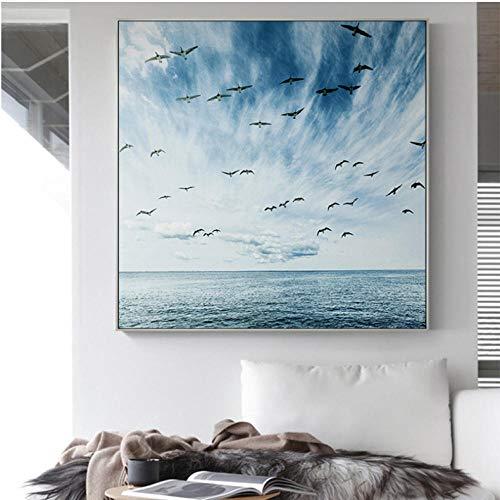 Scandinavische ganzen vliegen vierkante muurkunst afbeeldingen voor woonkamer huis decoratie canvas schilderij mooie blauwe zee en hemel landschap 80x80cmx1 niet ingelijst