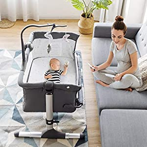 BABY JOY Baby Bedside Crib, Height Adjustable Portable Bassinet w/Music, Toy Rack, Mattress, Straps, Breathable Mesh & Carrying Bag, Easy Folding Kids Bed Side Sleeper for Newborn Infant