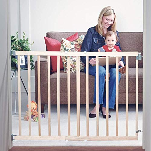 """Toddleroo by North States 42"""" wide Stairway Swing Baby Gate: Ideal for standard stairways. Swing control hinge & one hand operation. Hardware Mount. Fits 28""""- 42"""" wide (30"""" Tall, Sustainable Hardwood)"""