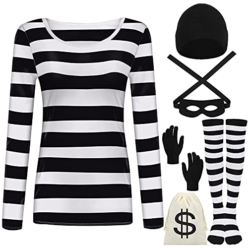 URATOT Women's Robber Costume Set Cosplay Thief Accessories for Halloween Party White, Black