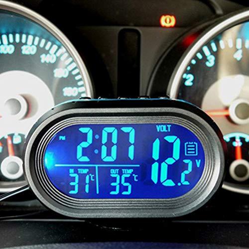 MOLEAQI Termómetro de Coche Azul Reloj Digital Reloj de automóvil LED Iluminado con indicador de Temperatura Dual automático Voltímetro Probador de Voltaje 12V 24V Entrada
