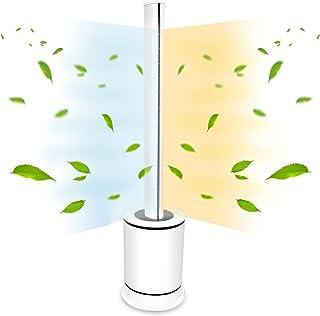 ファンヒーター スリムタワー型 HOT & COOL 空気清浄機能付き 自動首振り タイマー 自動電源オフ 送風・温風兼用 リモコン付 省エネ 静音 大風量 (ホワイト, Large)