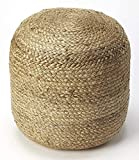 The Knitted Co. 100% Natural Jute Pouf Handmade Braided Ottoman - Farmhouse Rustic Accent Furniture - Footrest Round Bean Bag - for Living Room Bedroom Kids Room (Natural, 16