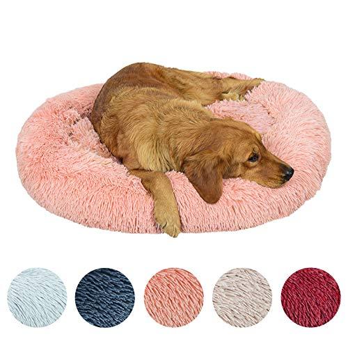 Cuccia per cani di lusso, cuccia per cani in peluche super morbida e confortevole, 5 colori e 7 taglie, lavabile in lavatrice,Rosa chiaro,120CM di diametro