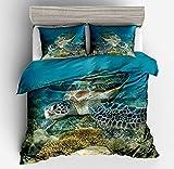 ENLAZY 3D Unterwasserwelt Dolphin Mermaid Meereslebewesen Bettwäsche Set Wendebettbezug Weiche Bettbezug Hautfreundliche Abdeckung mit 2 Kissenbezug für das Home Hotel Dorm,D,Double(155 * 220CM)