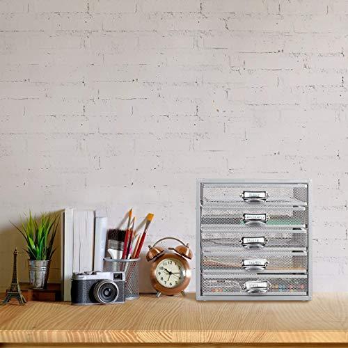 Relaxdays Schubladenbox, 5 Schubfächer, für Din A4 Dokumente, Ordnungssystem für Schreibtisch, Aktenablage, silber