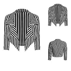 Damen Blazer im Wasserfall-Stil, schwarz und weiß gestreift, bauchfrei, Jacke Mantel Oberteil.