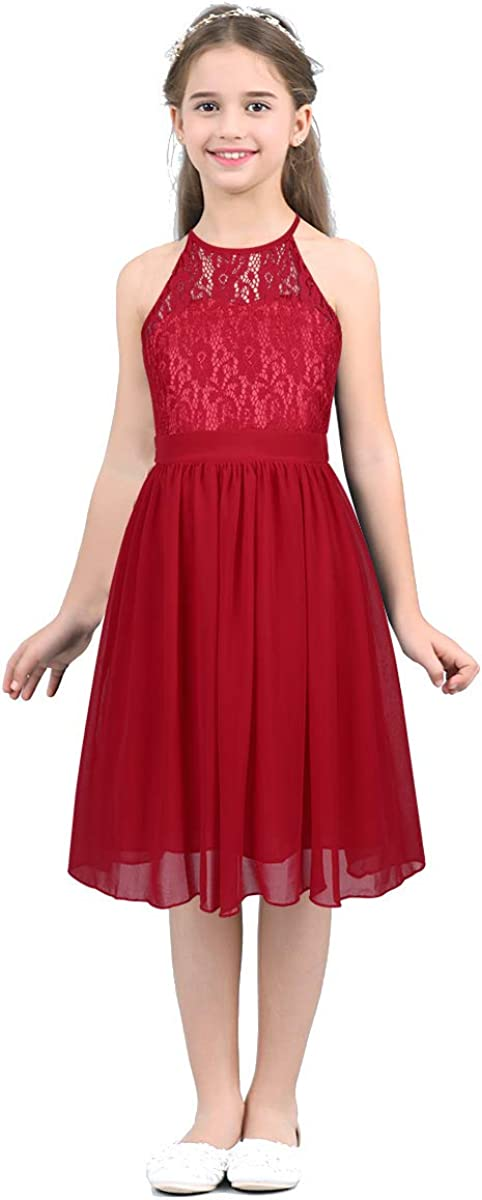 YUUMIN Kids Girls Halter Neck Chiffon Lace Flower Girl Wedding Party Bridesmaid Dress