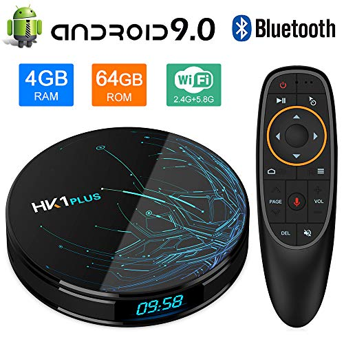 NewPal Android TV Box, HK1 Plus 4K Smart TV Box Android 9.0 with Amlogic S905X2 Quad Core DDR3 4G/64G Voice Remoted Support 2.4G/5G WiFi Streaming Media Player