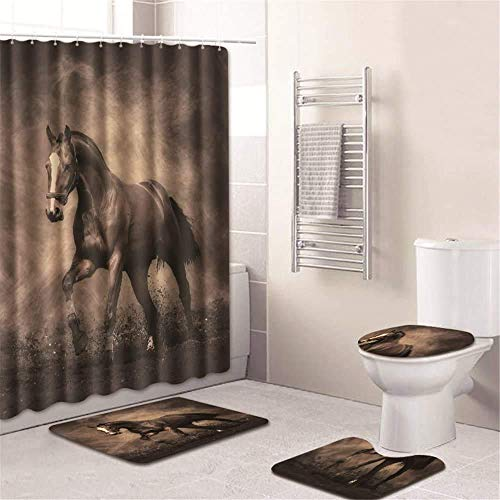 Horse Shower Curtain and Mats Set