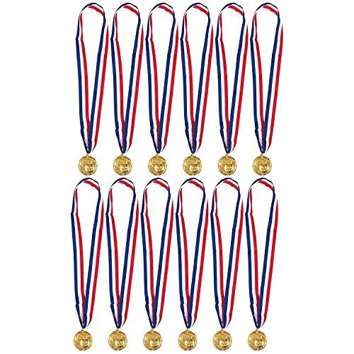 Juvale Medaglie d'Oro per Competizione di Calcio - Set da 12 Medaglie in Metallo - 5,1 cm di Diametro con nastro di 79 cm, Oro