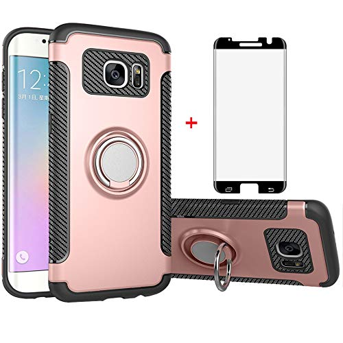Phone Case for Samsung Galaxy S7 Edge with Tempered Glass Screen Protector Cover and Stand Ring Holder Slim Hybrid Cell Accessories Glaxay S7edge Gaxaly S 7 Plus Galaxies GS7 7s 7edge Cases Rose Gold