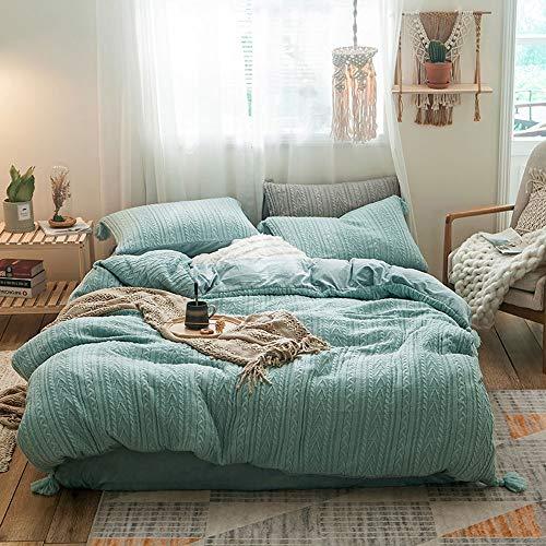 DaMai's Home 4 stuks gebreide trui Linea Blue Sky voor tweepersoonsbed polyester Home Collection × dekbedovertrek (220 × 240 cm) 2 × kussensloop (48 × 74 × 2 cm) 1 × Sheets (250 × 270 cm)