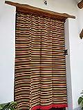 Cortina Alpujarreña Rustica,(160 x 215 cm), Rojo Amarillo Color 600 Hecha en España, Fibra Natural de algodón - Cortina para Puerta Exterior mosquitera y Parasol