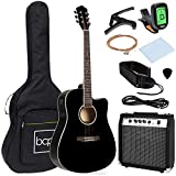 Best Choice Products Beginner Acoustic Electric Guitar Starter Set w/ 41in, All Wood Cutaway Design, Case, Strap, Picks, Tuner - Black