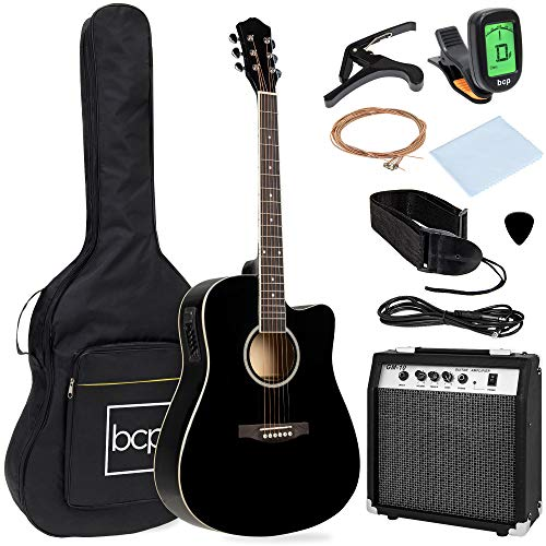 Best Choice Products Beginner Acoustic Electric Guitar Starter Set w/ 41in, All Wood...