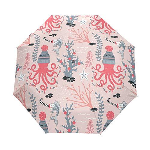 Octopus - Paraguas de viaje compacto con gorro de punto, para exteriores, lluvia, sol, coche, plegable, resistente al viento, toldo reforzado, protección UV, mango ergonómico, apertura y cierre automático