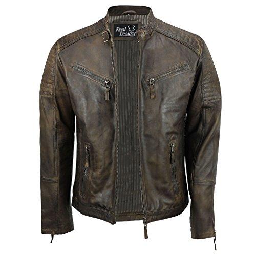 Chaqueta de cuero auténtico para hombre, estilo retro, motociclista, vintage, urbano - Con cremallera, color Marrón, talla Medium
