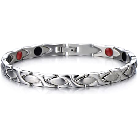 COOLSTEELANDBEYOND Élégant - Bracelet Femme Aimanté en Acier Inoxydable - avec des Aimants, Germanium - Outil de Suppression de Lien Inclus