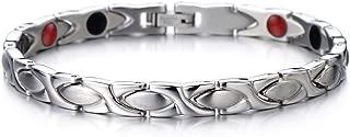 COOLSTEELANDBEYOND Steel Ladies Magnetic Bracelet with Magnets Germanium, Negative Ion, Far Infrared, Free Link Removal Kit