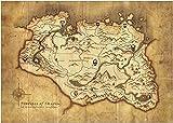 Lomoko Mapa de Skyrim Vintage Mapa Antiguo Carteles de Arte de Pared impresión en HD Foto Lienzo Pintura Sala de Estar imágenes decoración del hogar-50x70 CM sin Marco