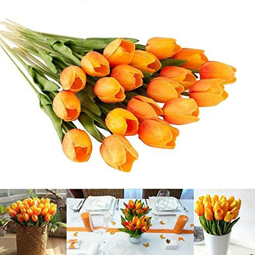 LONGBLE Tulpe künstliche Blumen,12 Stück orange Künstliche Tulpen Familie Garten Hochzeit Wedding Bouquet Hause Deko Kunstblumen Tulpenbündel für Geburtstag Party Dekoration
