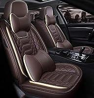 高級レザーカーシートカバーセット、ユニバーサル滑り止め防水5席のための互換性のサイドエアバッグ、9点セット (Color : Brown)