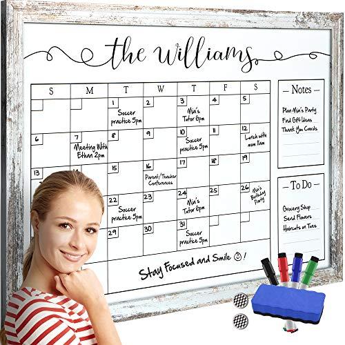 Framed Dry Erase Calendar - Whiteboard Calendar with 4 Markers and Eraser - Magnetic White Board Wall Calendar for Office - Multipurpose Large Family Month Calendars - Big Whiteboard Planner Organizer